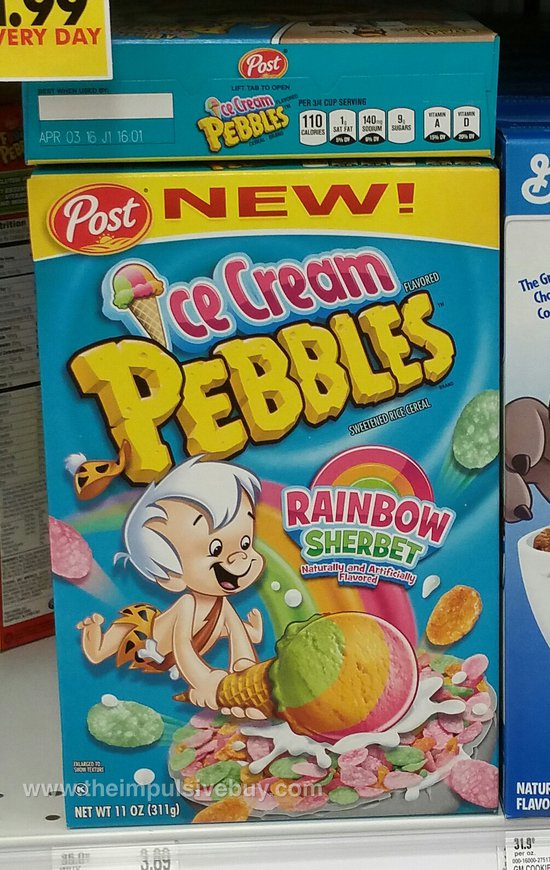 Post Rainbow Sherbet Ice Cream Pebbles Cereal