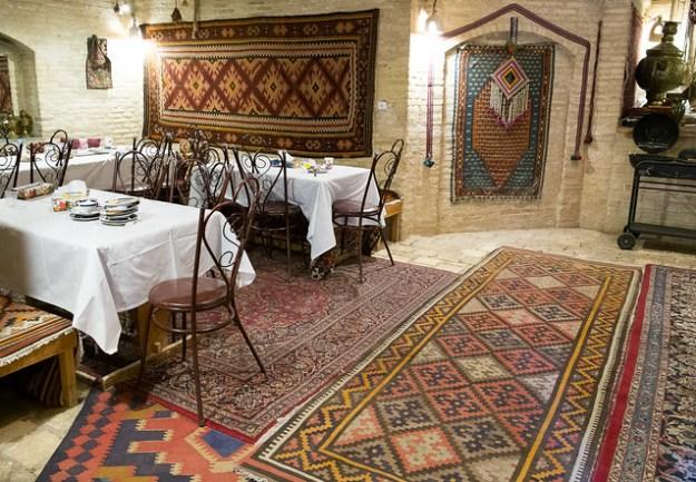 Dining room at Zein-od-Din Caravanserai in the desert of Iran