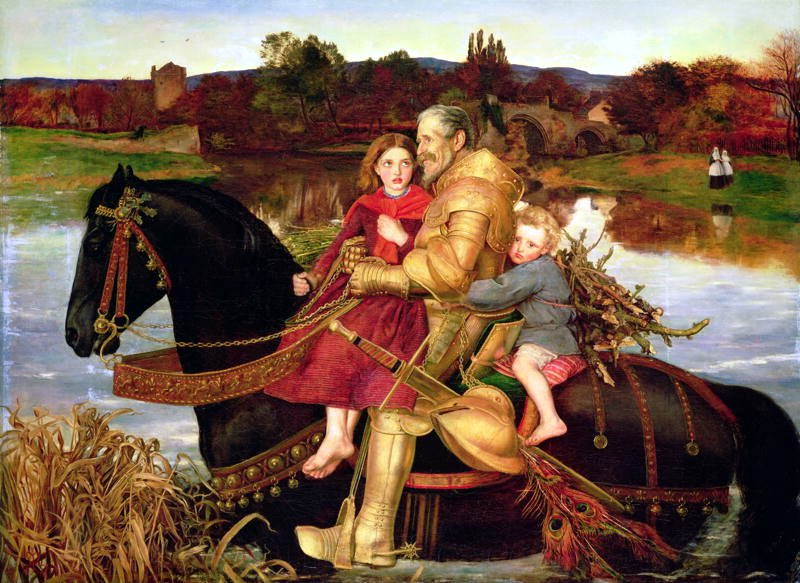 A Dream of the Past - Sir Isumbras at the Ford by John Everett Millais, 1857