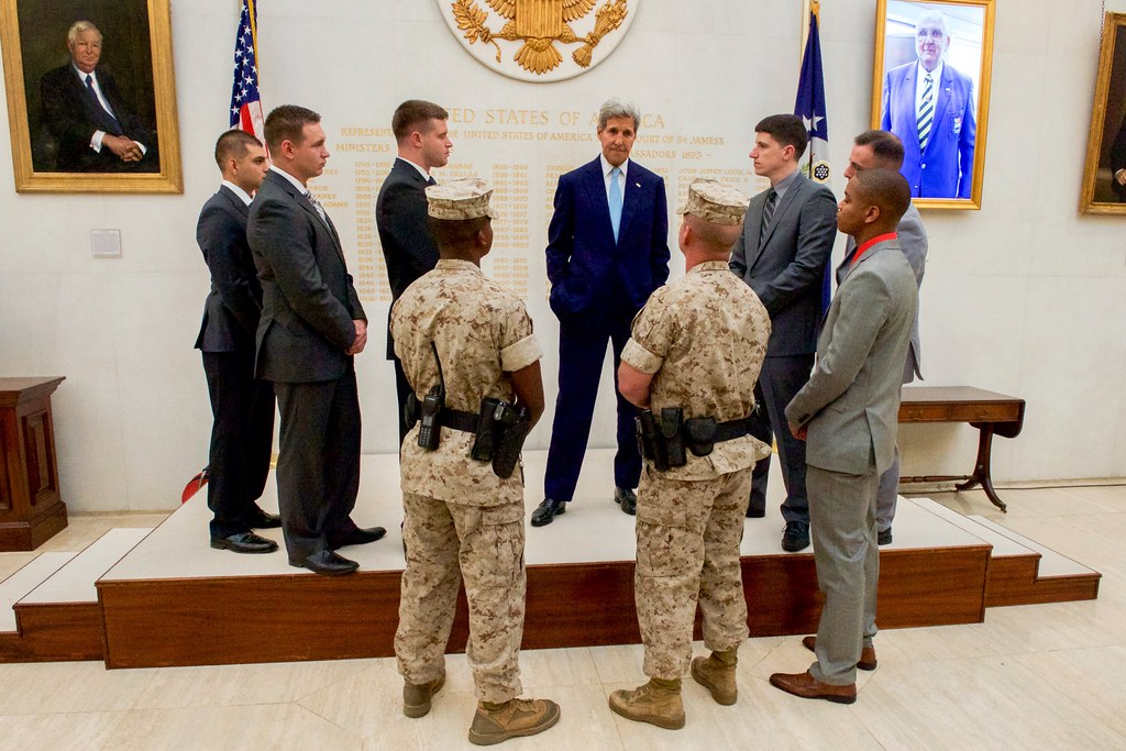 All sizes Secretary Kerry Chats With Marine Security Guard