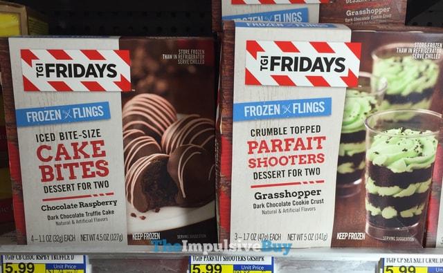 TGI Fridays Frozen Flings Chocolate Raspberry Cake Bites and Grasshopper Parfait Shooters