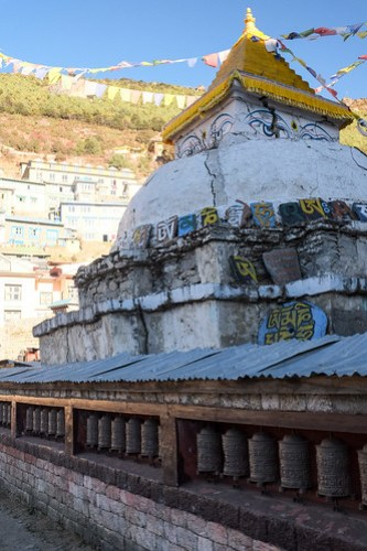Cracked stupa. Namche Bazaar