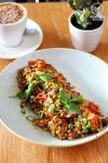 Sydney Food Blog Review of Hungry Wolf, Wollongong: Pearl Barley and tomatoes, with Beef Brisket