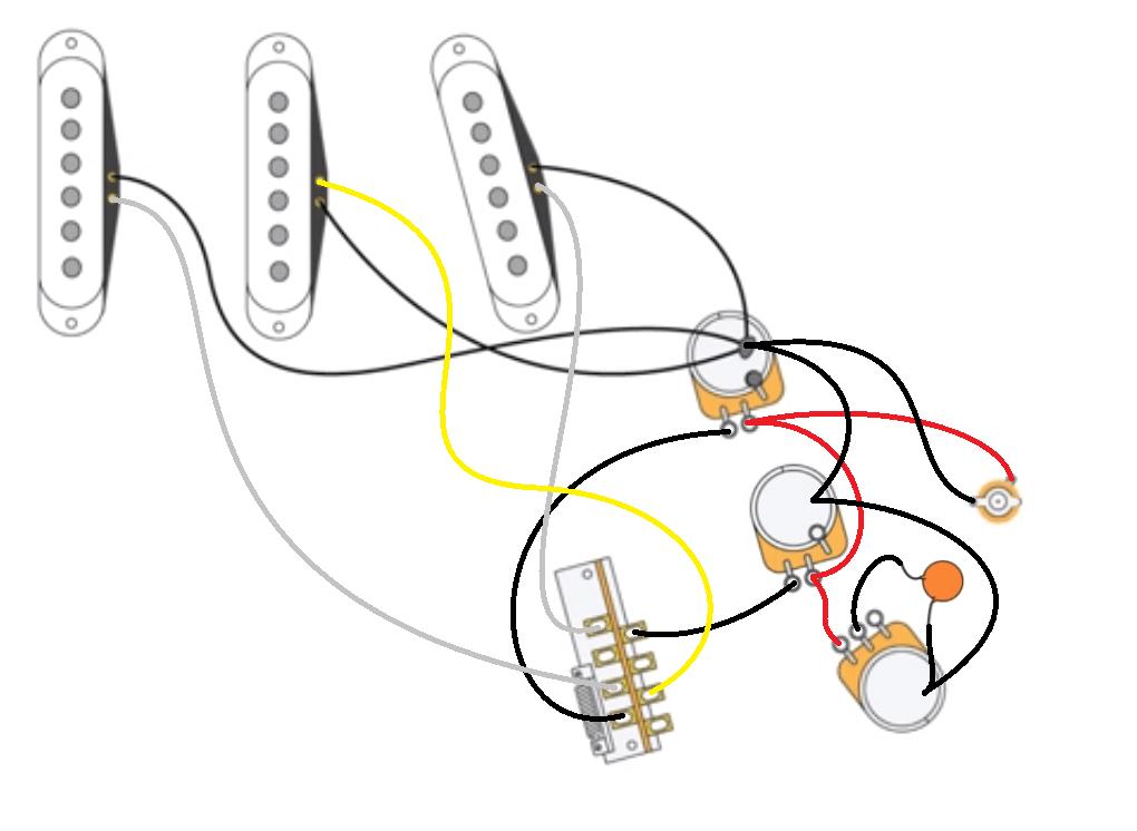 strat wiring 2 volume 1 tone