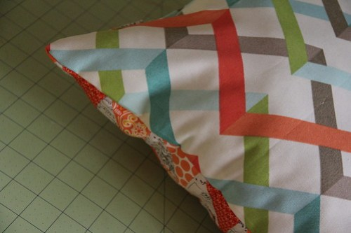 Half square triangle scrappy pillow