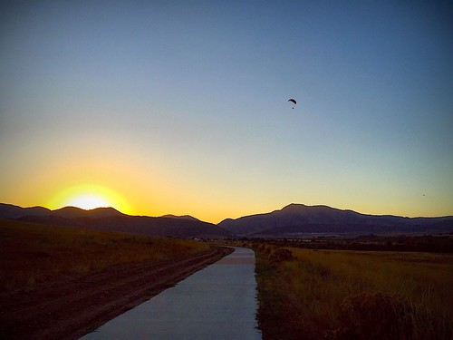 Paramotoring at sunset