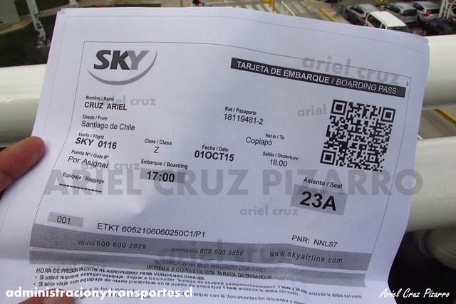 Pasaje Vuelo SKY116 SCL - CPO