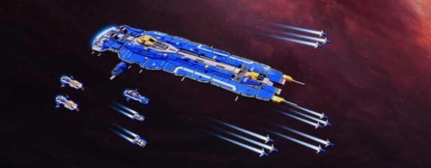Hiigaran Battlecruiser with Escort Fleet