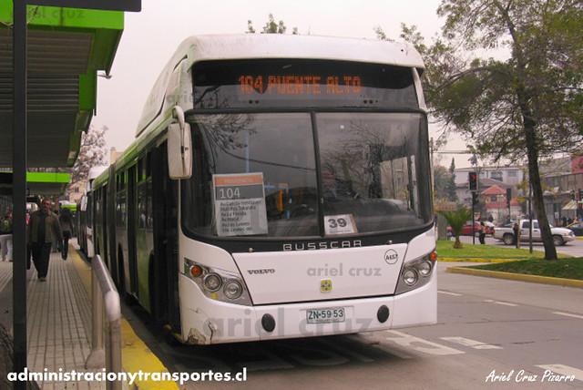 Transantiago - Inversiones Alsacia - Busscar Urbanuss / Volvo (ZN5953) (657)