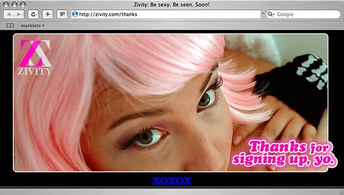 Zivity confirm page: Thanks for signing up, yo.