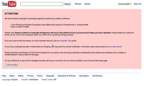Transformers Live Action Movie Blog (TFLAMB) TF3 DMCA Takedown - notice of copyright importance