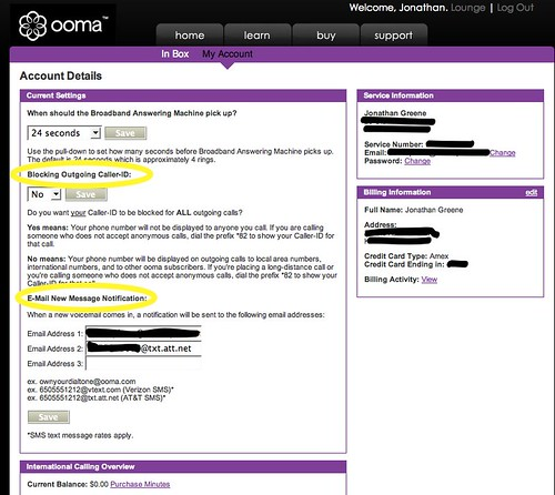 ooma: Account Details