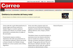 Correo dice que Iron Maiden viene a Peru