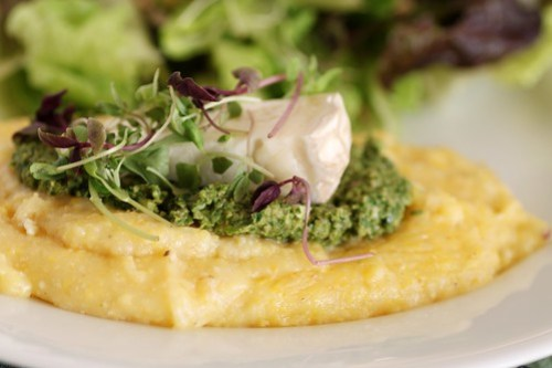 creamy polenta with pesto