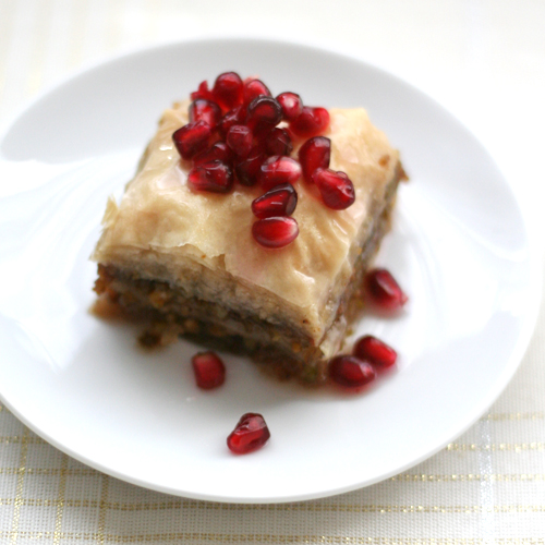 pistachio baklava with pomegranate syrup