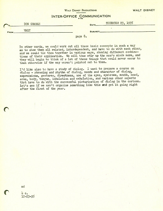 Letters of Note How to Train an Animator, by Walt Disney