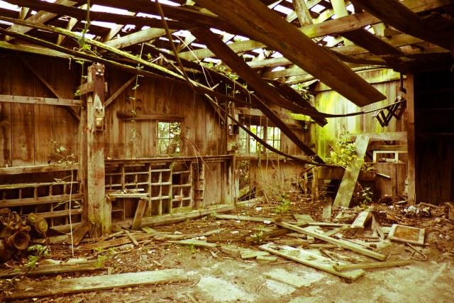 Abandoned farmhouse interior