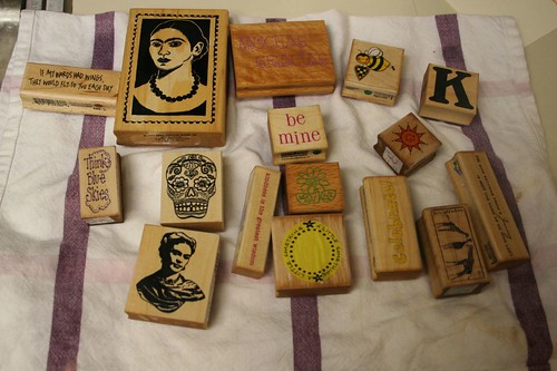 stamps drying