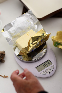 weighing butter