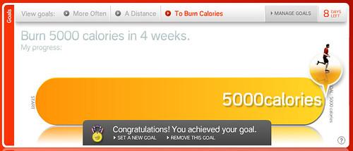 Nike+ Goal: Burn 5000 calories in 4 weeks.