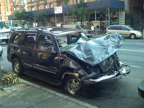 Wrecked and rolled SUV, Upper West Side