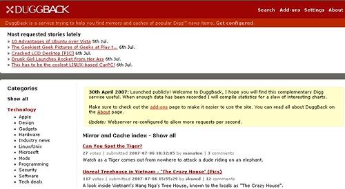 Duggback: Screenshot of Mirrored Digg Stories