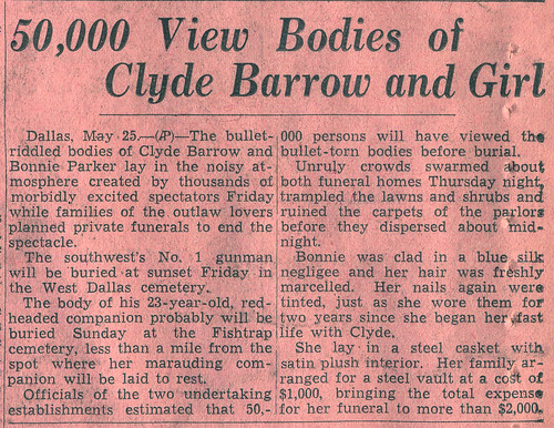May 24th, 1934 Dallas Morning News Bonnie and Clyde captured - bill of sale for gun