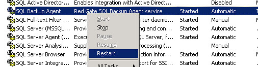 Restart RedGate -> SQL Backup Agent