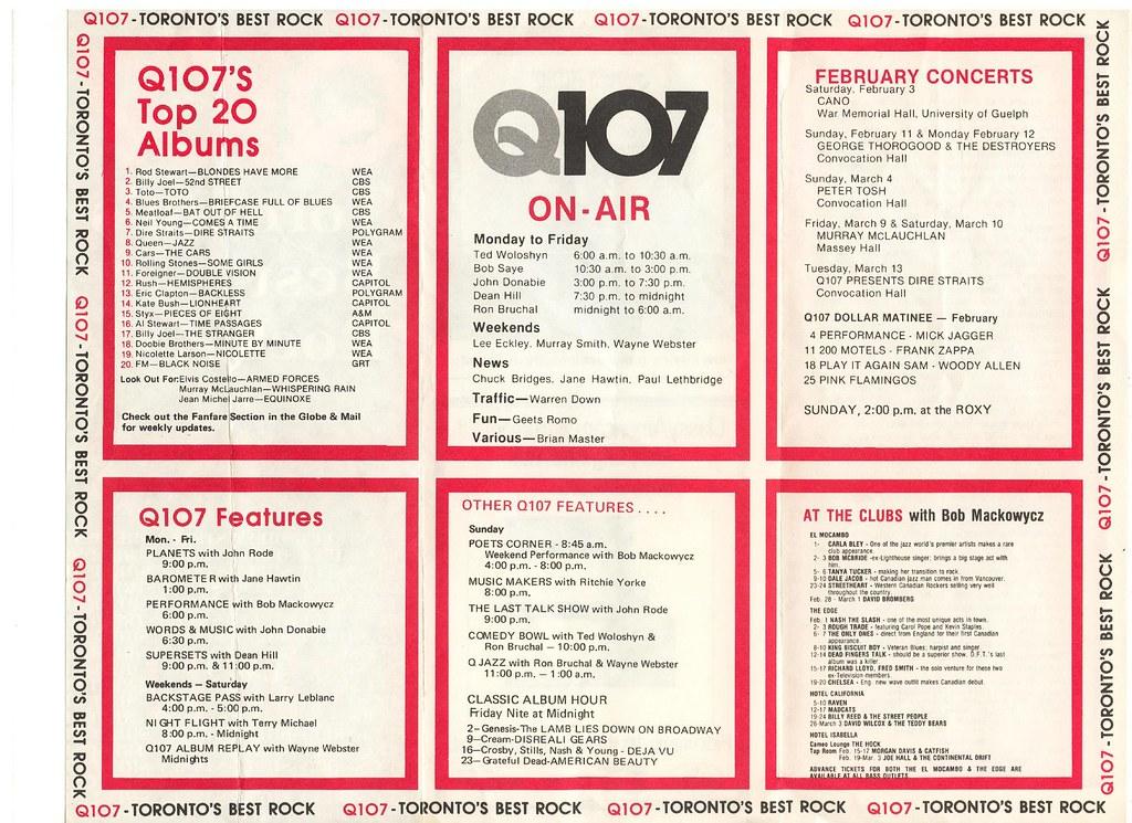 Q107 Toronto\u0027s Best Rock album chart, February 1979 Flickr
