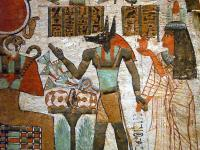 Ancient Egyptian wall painting depicting Anubis - a photo ...