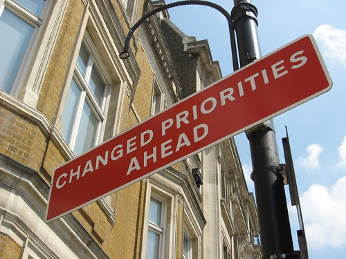 Changed Priorities Ahead sign