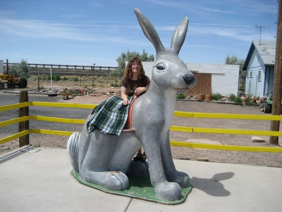 Stephanie with Giant Jack Rabbit