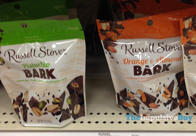 Russell Stover Pistachio Bark and Orange & Almond Bark