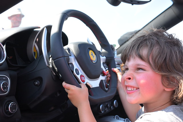 My son at hid Ferrari experience in Florence