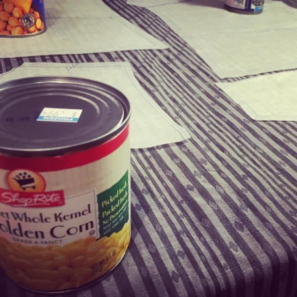 Keeping it classy with canned corn pattern weights. #sewing