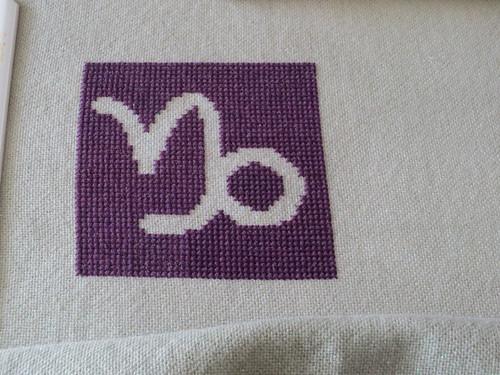 finished stitching Capricorn Zodiac Block