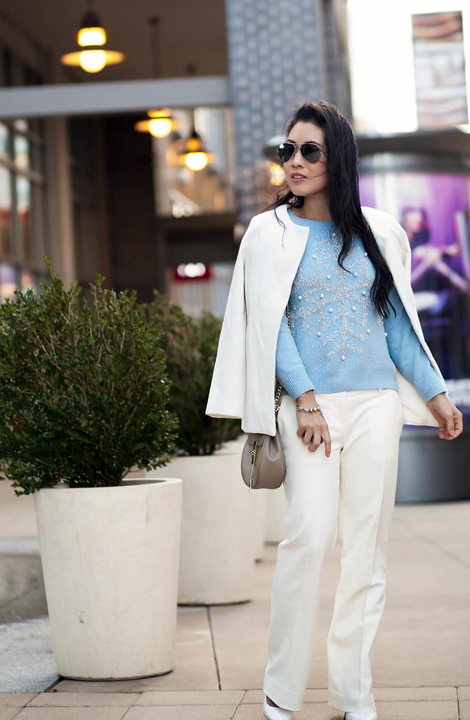 Baby Blue + Winter White - cute  little Dallas Petite Fashion Blogger