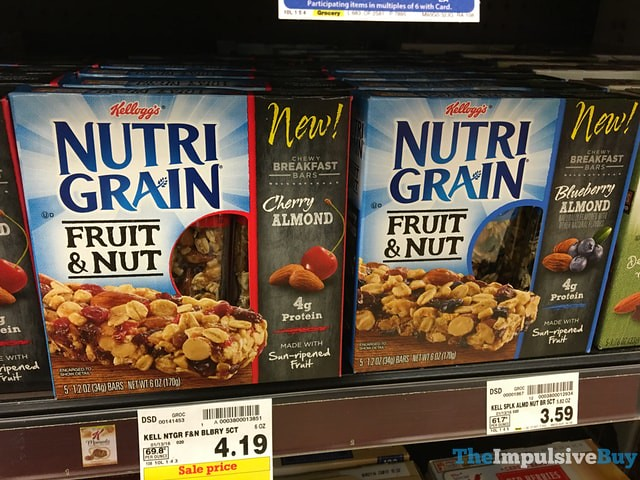 Kellogg's Nutrigrain Fruit & Nut Bars (Cherry Almond and Blueberry Almond)