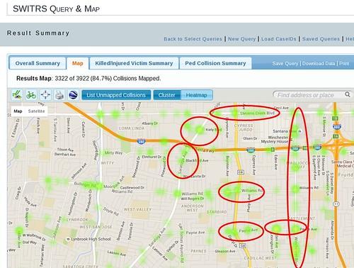 San Jose District 1: pedestrian and cyclist collision hot spots