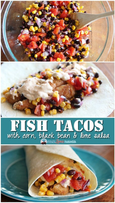 Easy fish tacos with corn, black bean and lime salsa. Really easy to ...