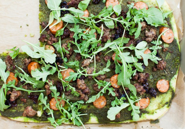 meat lover's pesto arugula pizza