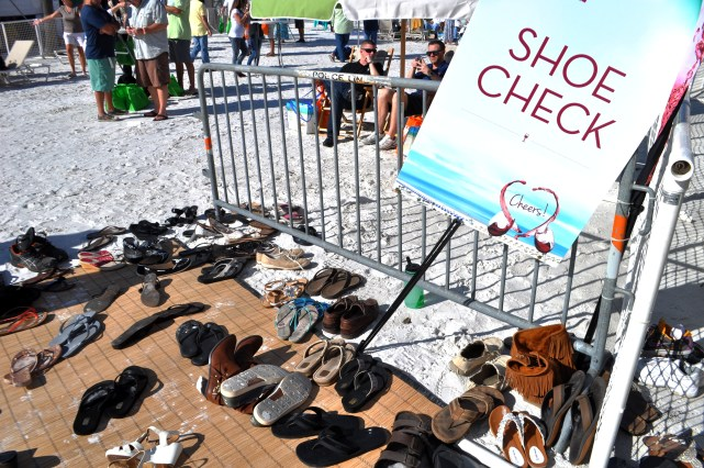 Shoe Check - Clearwater Beach Uncorked, Food, Wine & Beer Festival. Clearwater Beach, Florida, Feb. 7, 2015