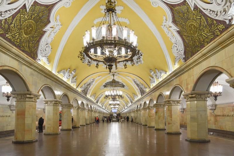 komsomolskaya metro station in moscow
