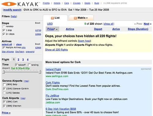 Kayak.com GVA-ORK-AUS-SFO-GVA