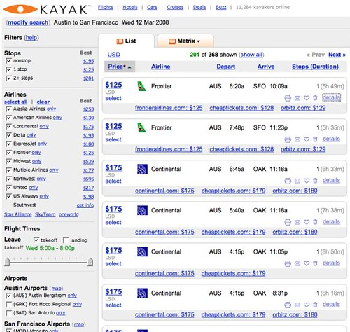 Kayak.com AUS - SFO