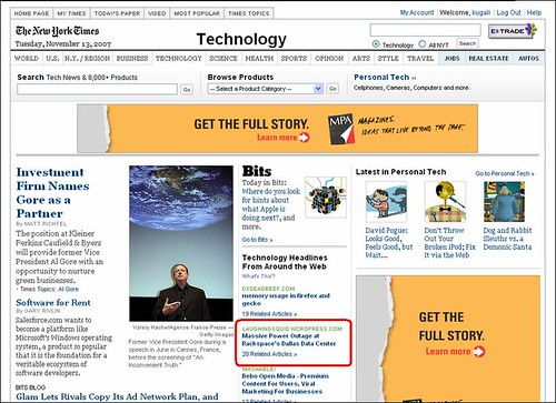 Rackspace Power Outage Coverage in NYT