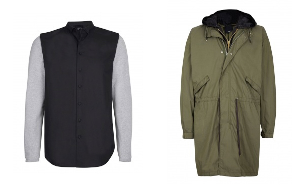 3.1 Phillip Lim Tuxedo Shirt and Leather Detailed Parka from MyWarderobe.com