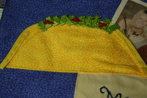ribbon and embroidered taco
