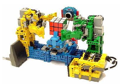 A LEGO Mindstorm robot that solves Rubik's Cube puzzles