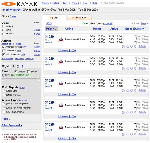 Kayak.com ORK - AUS - SFO - GVA